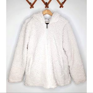 MADDEN NYC Teddy Sherpa Hooded Zip Up Furry Jacket